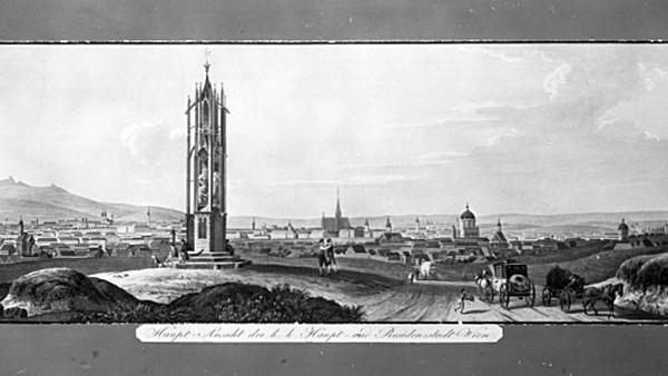 Panorama mit Blick auf Wien von der Spinnerin am Kreuz.